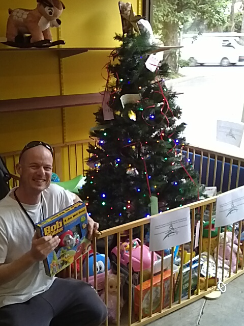 John and the tree at Hand Me Downs.